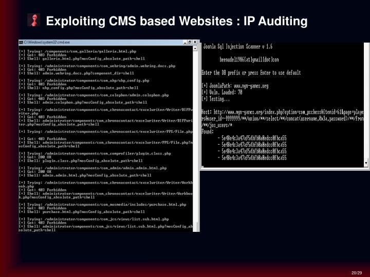 Exploiting CMS based Websites