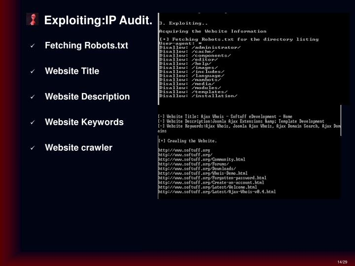 Exploiting:IP Audit.