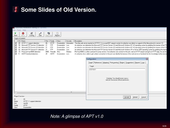 Some Slides of Old Version.