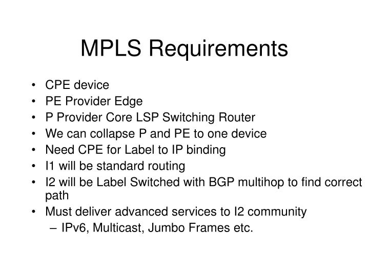 MPLS Requirements