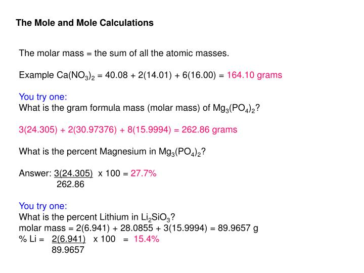 The Mole and Mole Calculations
