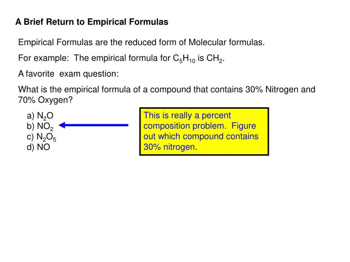 A Brief Return to Empirical Formulas