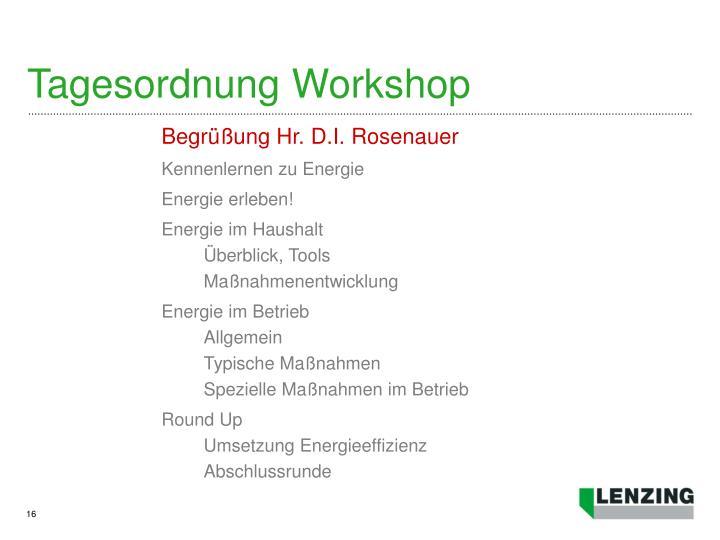 Tagesordnung Workshop