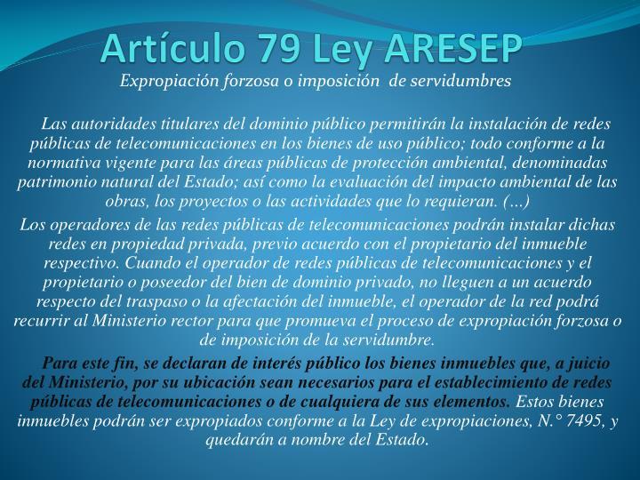 Artículo 79 Ley ARESEP