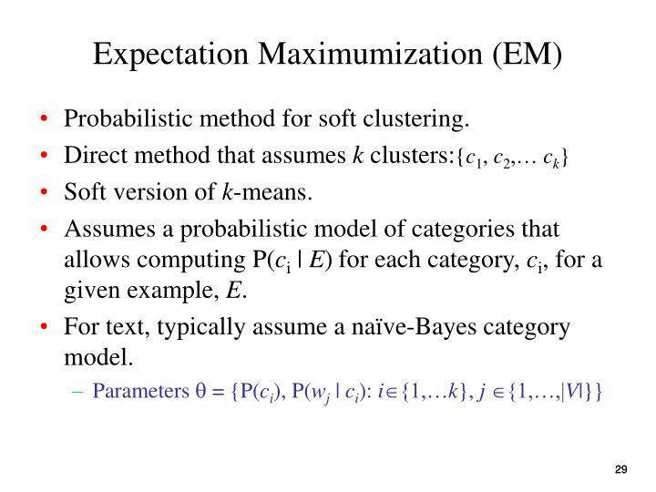 Expectation Maximumization (EM)