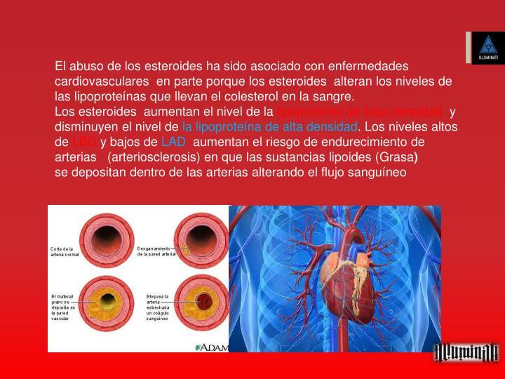 El abuso de los esteroides ha sido asociado con enfermedades cardiovasculares  en parte porque los esteroides  alteran los niveles de las lipoproteínas que llevan el colesterol en la sangre.
