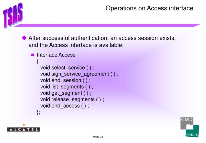 Operations on Access interface