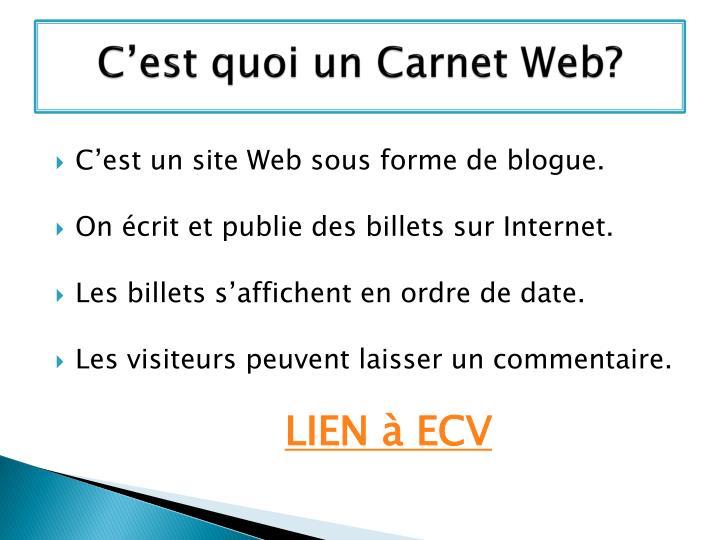 C'est quoi un Carnet Web?