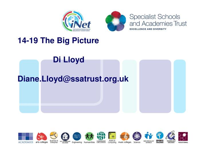 14 19 the big picture di lloyd diane lloyd@ssatrust org uk