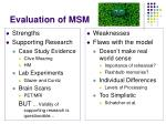evaluation of msm