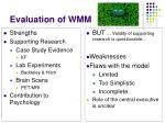 evaluation of wmm