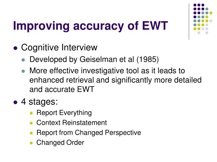 Improving accuracy of EWT