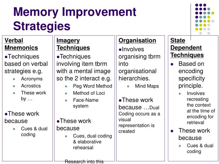 Memory Improvement Strategies