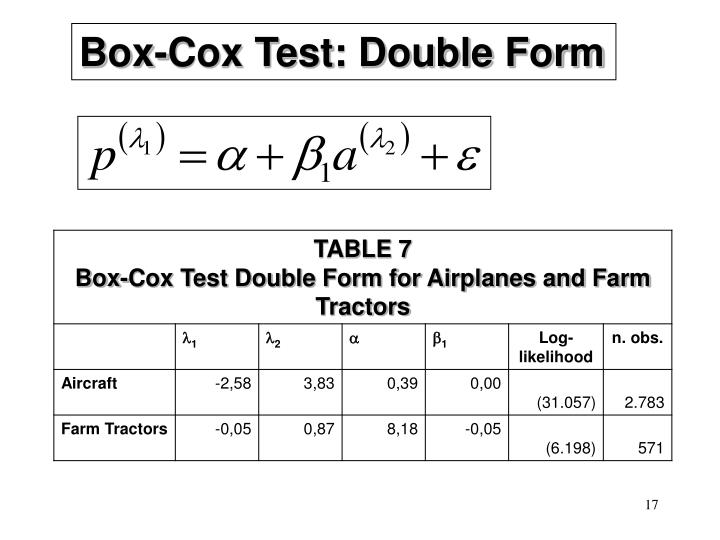 Box-Cox Test: Double Form