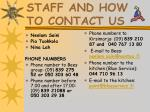 staff and how to contact us