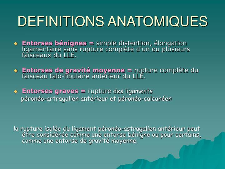 Definitions anatomiques