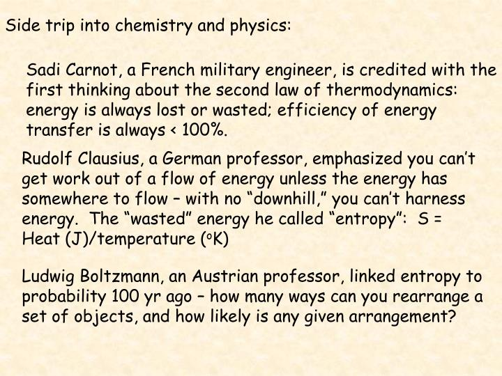 Side trip into chemistry and physics: