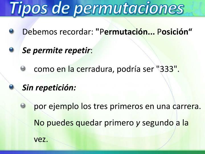 Tipos de permutaciones