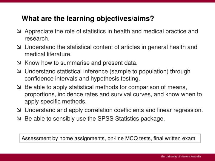 What are the learning objectives/aims?