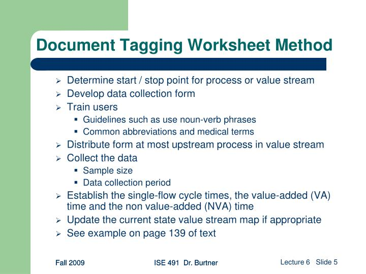 Document Tagging Worksheet Method