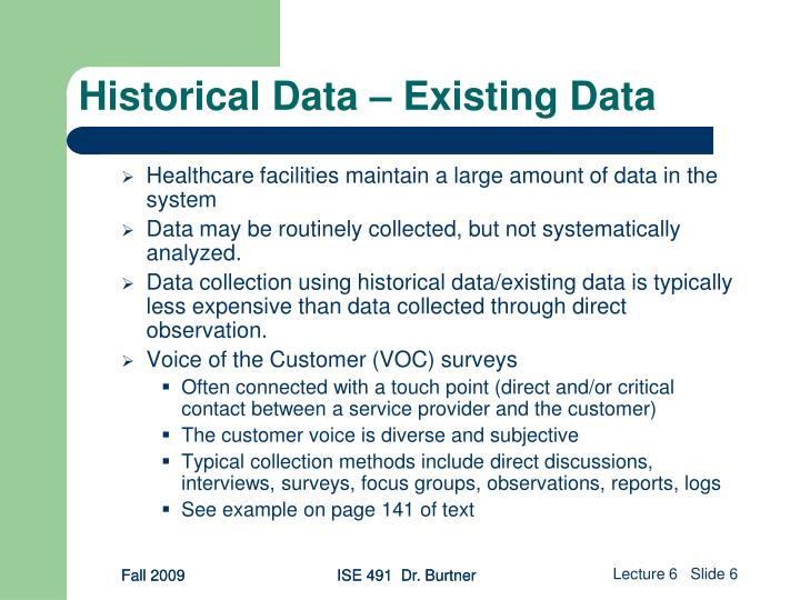 Historical Data – Existing Data