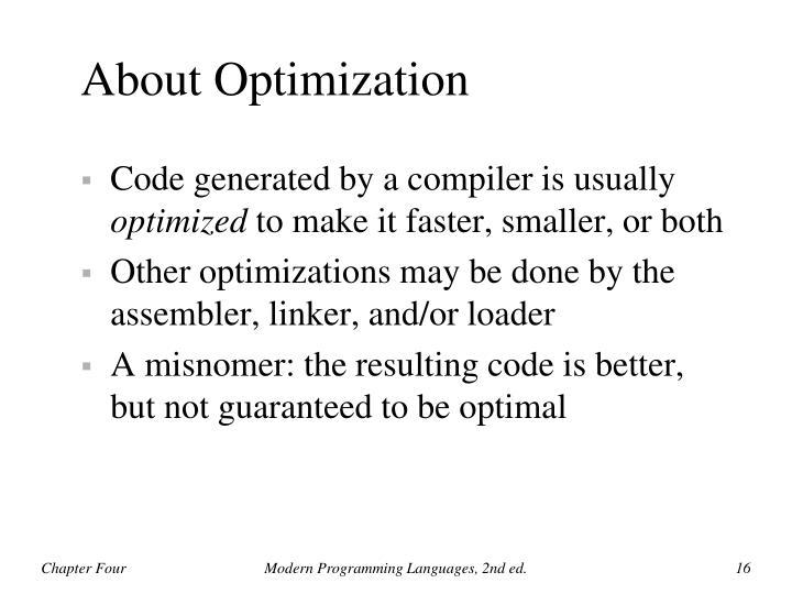 About Optimization