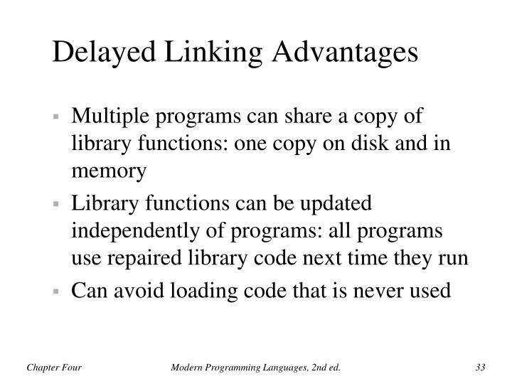 Delayed Linking Advantages