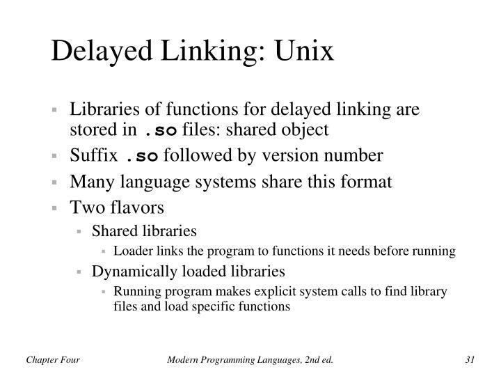 Delayed Linking: Unix