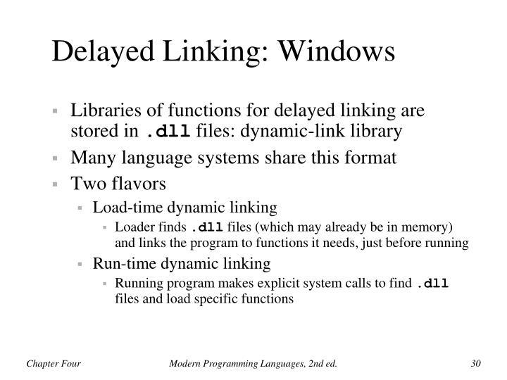 Delayed Linking: Windows