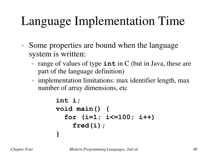 Language Implementation Time