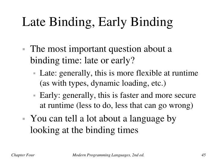 Late Binding, Early Binding