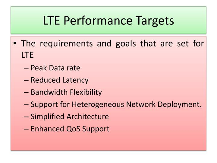 Lte performance targets