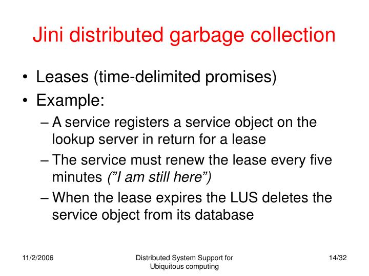 Jini distributed garbage collection