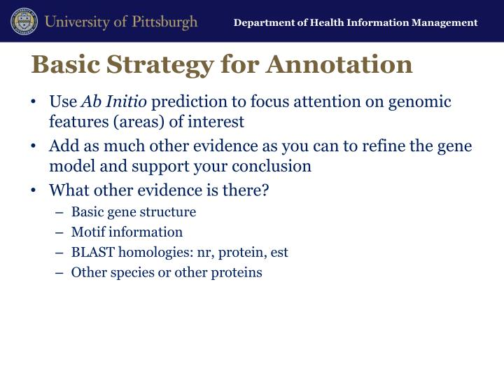 Basic Strategy for Annotation