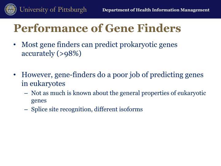 Performance of Gene Finders