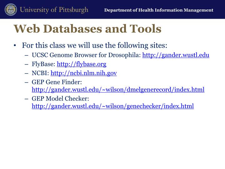 Web Databases and Tools