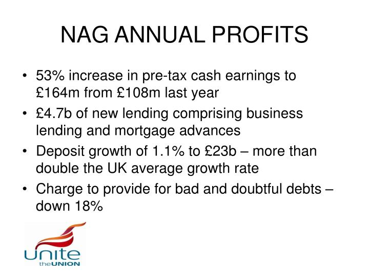 NAG ANNUAL PROFITS