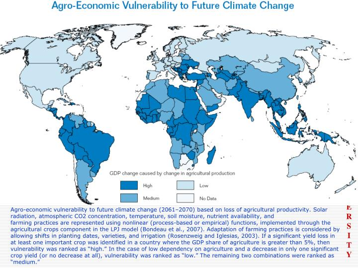 Agro-economic vulnerability to future climate change (2061–2070) based on loss of agricultural productivity. Solar radiation, atmospheric CO2 concentration, temperature, soil moisture, nutrient availability, and