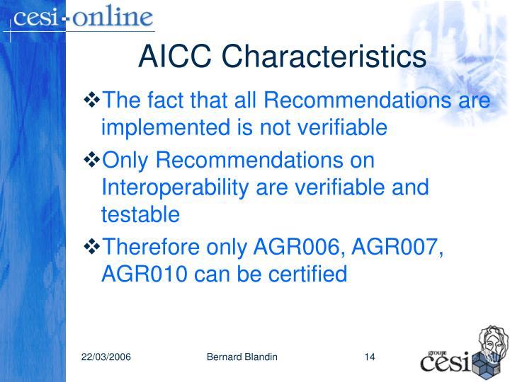 AICC Characteristics