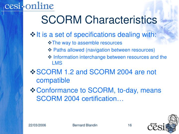 SCORM Characteristics