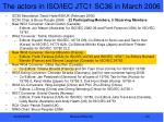 the actors in iso iec jtc1 sc36 in march 2006
