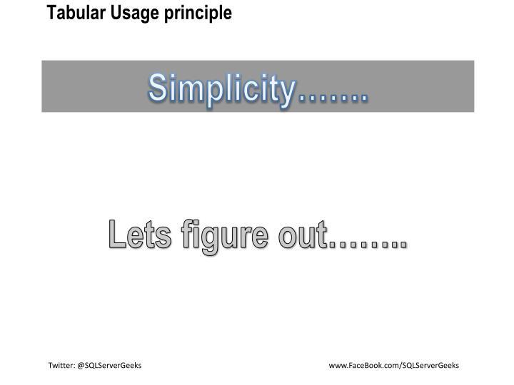 Tabular Usage principle