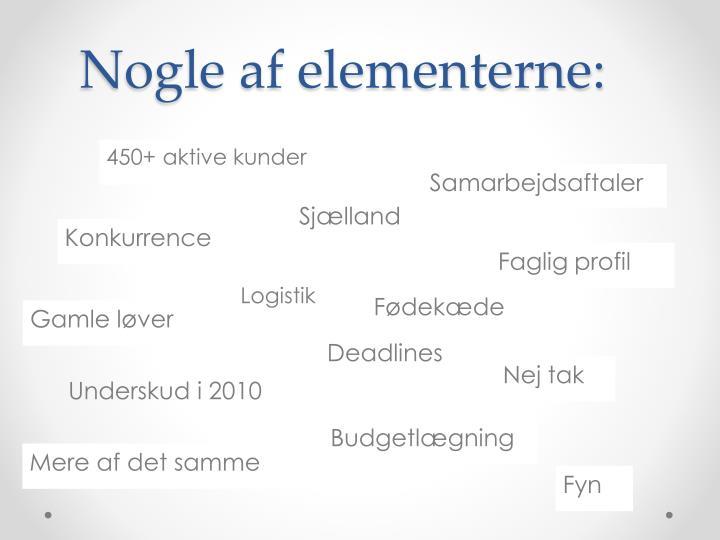 Nogle af elementerne: