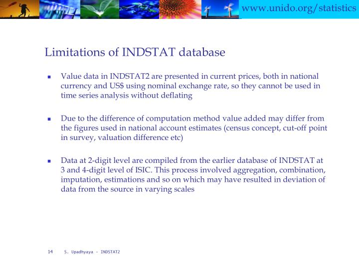 Limitations of INDSTAT database