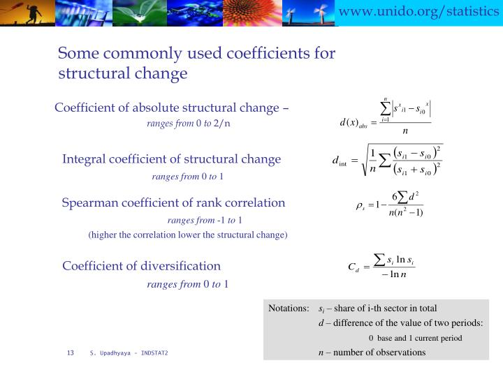 Integral coefficient of structural change