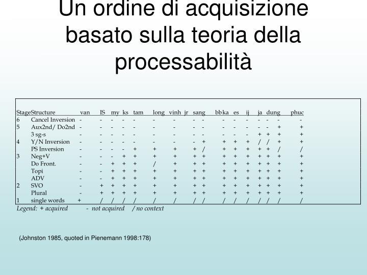 Un ordine di acquisizione basato sulla teoria della processabilità
