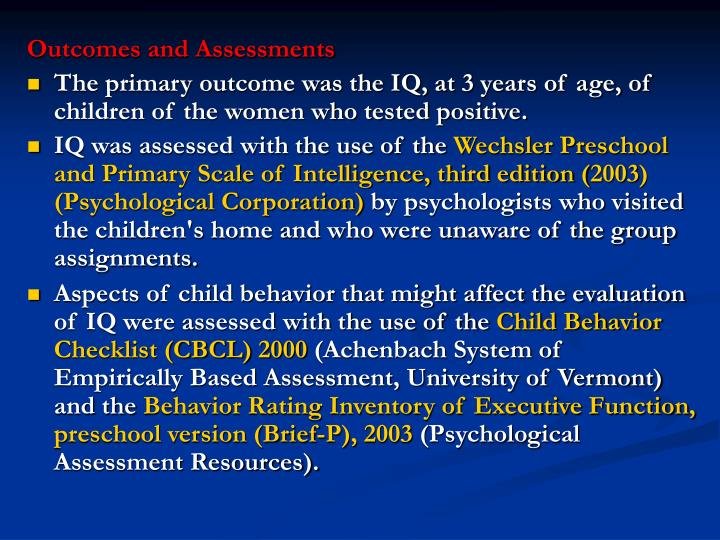 Outcomes and Assessments