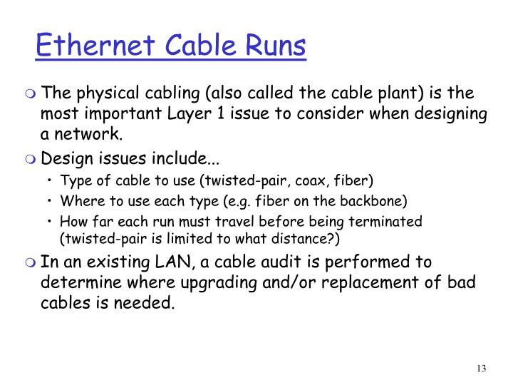 Ethernet Cable Runs