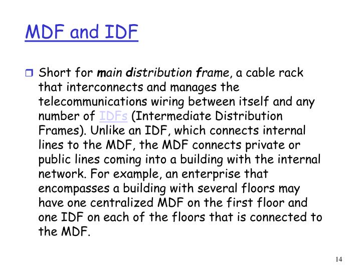 MDF and IDF