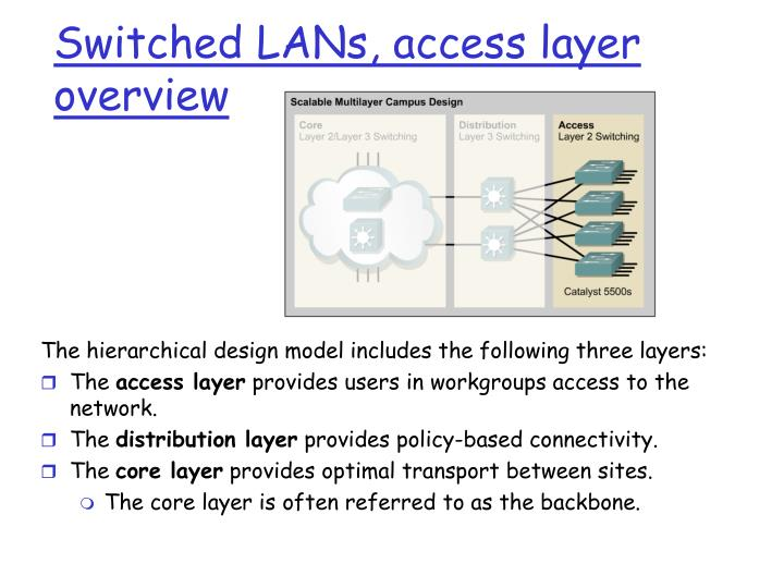 Switched LANs, access layer overview